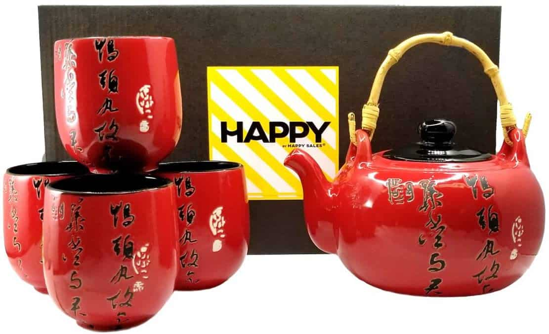 Happy Sales HSTS PMR02 RED Calligraphy Tea Set