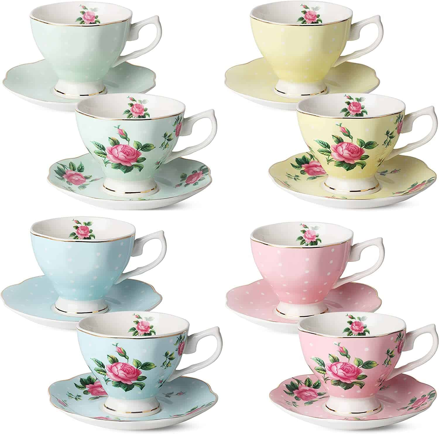 Brew To A Tea Floral Tea Cups And Saucers Set Of 8