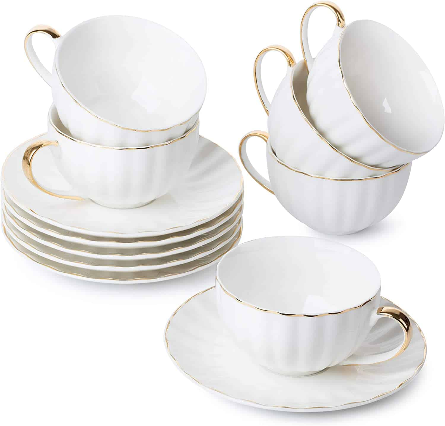 Brew To A Tea Set Of 6 Tea Cups With Saucers Best For Family