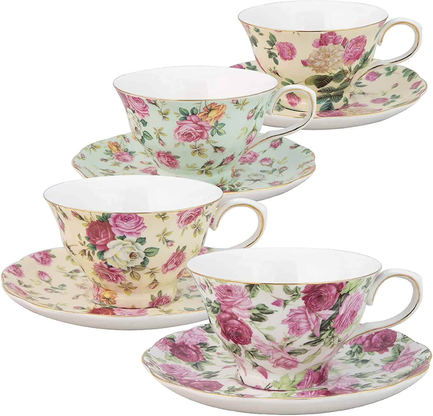 Gracie China By Coastline Imports Rose Chintz 8 Ounce Porcelain Tea Cup And Saucer