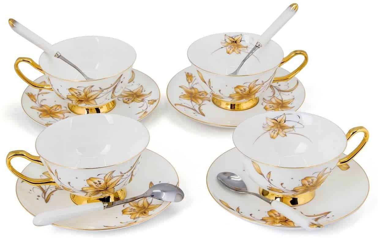 Kendal Porcelain Tea Cup Set With Saucers And Spoons