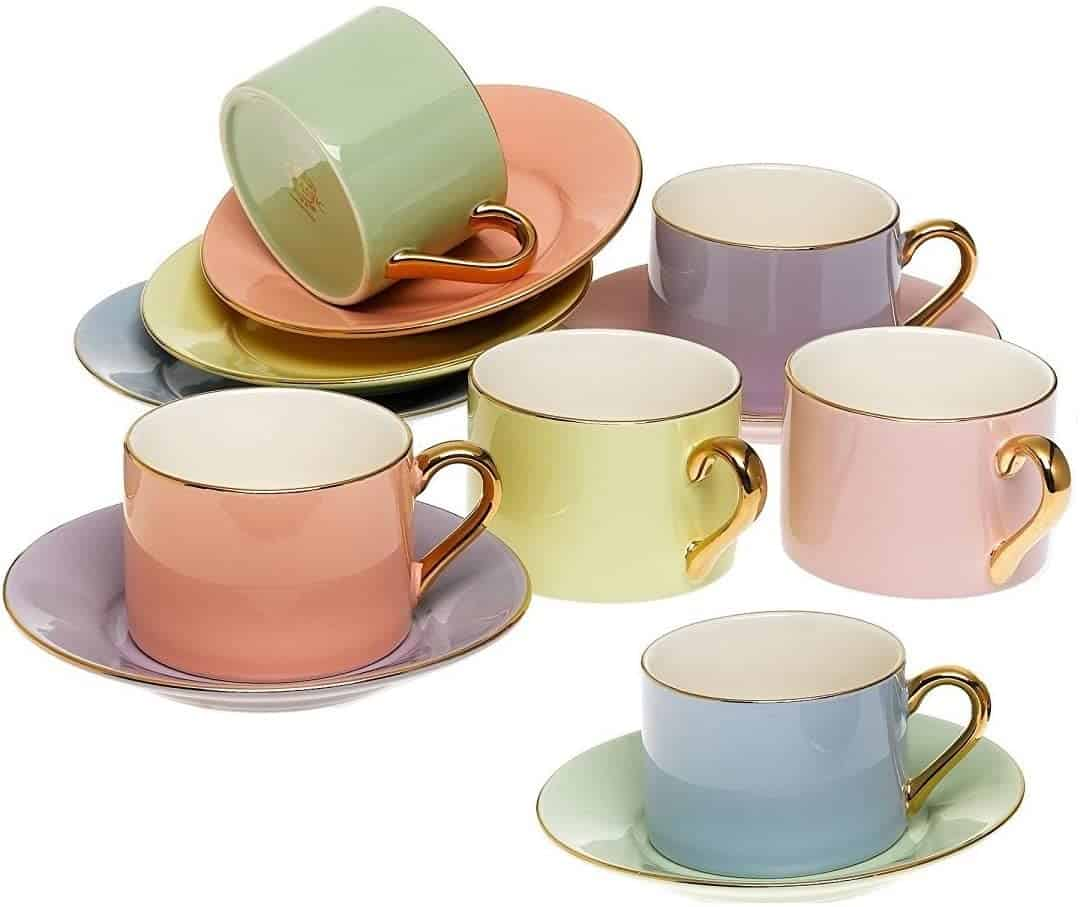 Yedi Houseware Classic Coffee And Tea Cups Saucers