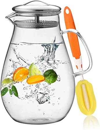 Hiware 64 Ounces Glass Pitcher With Lid and Spout Best Multi functional Water Pitcher