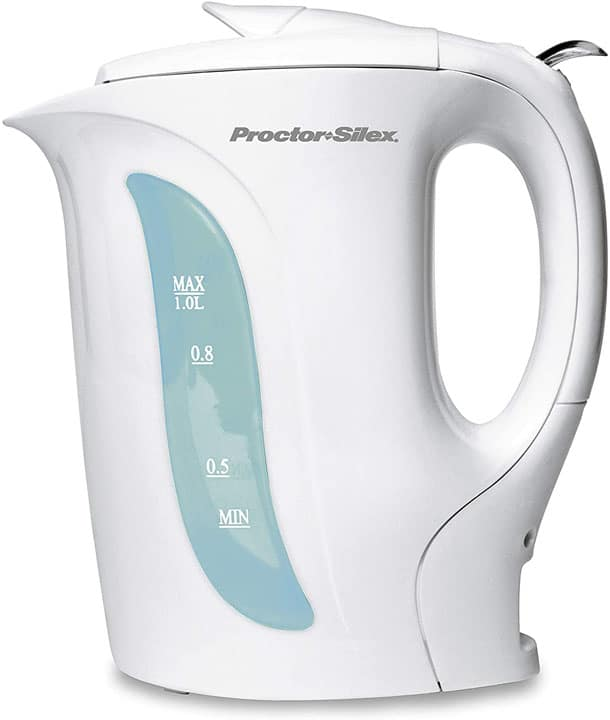 Proctor Silex Electric Tea Kettle Water Boiler Heater 1L Auto Shutoff Boil Dry Protection White K2070Y
