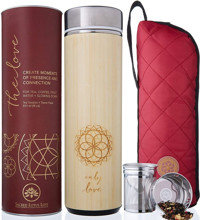 The Love Bamboo Tea Tumbler with tea Strainer and Infuser